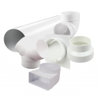 Plastic ventilation round ducts and fittings